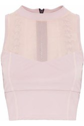 Cushnie Et Ochs Cropped Mesh Paneled Lace Up Stretch Top Lilac