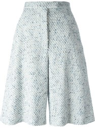 Thom Browne Woven Wide Leg Shorts White