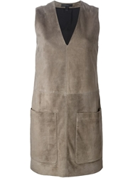 Belstaff Fringed Suede Dress Grey