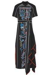Peter Pilotto Embroidered Cady Maxi Dress Black
