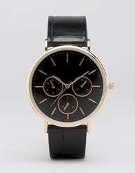 Asos Black And Rose Dial Watch With Faux Crocodile Strap Black