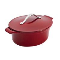 Anolon Cast Iron Oval Casserole Pot Red 27Cm