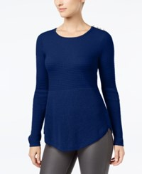 Charter Club Mixed Stitch Button Shoulder Sweater Created For Macy's Bright Sapphire