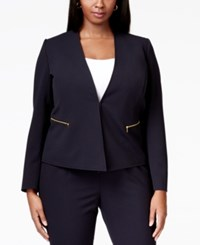 Tahari By Arthur S. Levine Tahari Asl Plus Size Zip Pocket Collarless Blazer