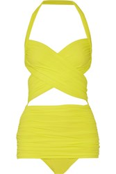 Norma Kamali Xo Bill Mio Halterneck Swimsuit Bright Yellow