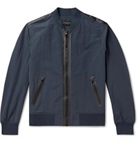 Rag And Bone Nylon Cotton Blend Bomber Jacket Blue