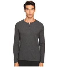 Atm Anthony Thomas Melillo Classic Henley Charcoal Men's Long Sleeve Pullover Gray