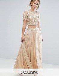 Lace And Beads Maxi Tulle Skirt With Embellished Waist Co Ord Cream