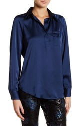 Insight Placket Long Sleeve Blouse Blue