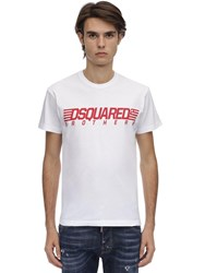 Dsquared Printed Cotton Jersey T Shirt White