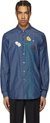 Paul Smith Blue Flowers And Stems Shirt