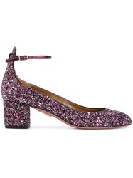 Aquazzura Alyx Glitter Pumps With Ankle Strap Women Calf Leather Leather Pvc 35.5 Pink Purple
