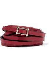 Valentino Textured Leather Skinny Belt