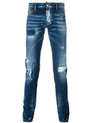 Dsquared2 Slim Bleached Patchwork Jeans Blue