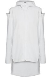 Y 3 Adidas Cocoon Cold Shoulder Cotton Hooded Jacket White