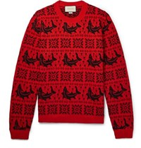 Gucci Fair Isle Jacquard Wool And Alpaca Blend Sweater Red