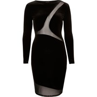 River Island Womens Black Velvet Mesh Panel Bodycon Dress