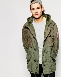 Denim And Supply Ralph Lauren Parka With Stars And Stripes Patch Greenparka