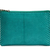 Charles And Perry Python Clutch Teal
