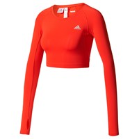 Adidas Techfit Long Sleeve Training Crop Top Red