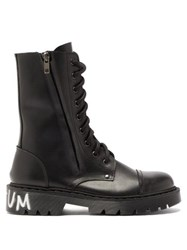 Vetements Dominium In Rectum Print Leather Boots Black