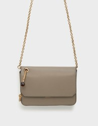 Charles And Keith Circular Handle Front Flap Clutch Taupe