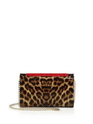 Christian Louboutin Vanite Small Leopard Patent Leather Clutch Brown