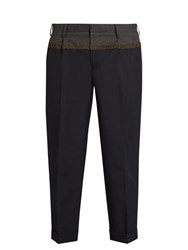 Kolor Slim Fit Bi Colour Cropped Trousers Navy