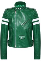 Red Valentino Striped Leather Bomber Jacket Green