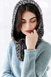 Urban Outfitters Marled Eyelash Hooded Snood Scarf Black And White