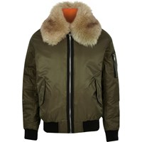 River Island Mens Green Faux Fur Collar Aviator Jacket