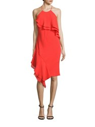 Laundry By Shelli Segal Tiered Cocktail Dress Fiery Red