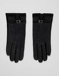 Barney's Originals Suede And Cord Mix Gloves Black