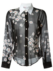 Red Valentino Daisy Print Blouse Black