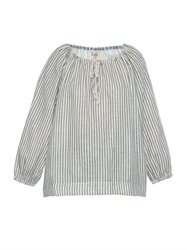 Sea High Back Striped Cotton Peasant Top
