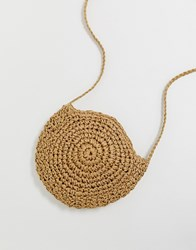 South Beach Structured Round Straw Bag With Long Handle Cream