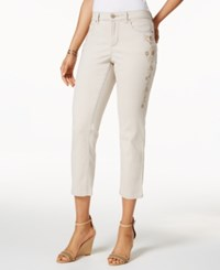 Charter Club Bristol Embroidered Capri Jeans Only At Macy's Creme Stone