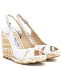 Jimmy Choo Amely 105 Platform Wedge Sandals White