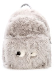 Anya Hindmarch Furry Face Backpack Grey