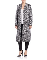 Essentiel Long Leopard Print Cardigan Black White