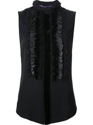Ralph Lauren Ruffled Sleeveless Blouse Black