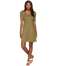 Toadandco Daisy Rib Cafe Sleeve Dress Rustic Olive Brown