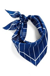 Vince Camuto Women's Stripe Silk Triangle Scarf Navy