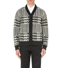 Tomorrowland Houndstooth Patterned Wool Cardigan White Charcoal