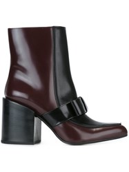 Marni Two Tone Mid Calf Boots Red
