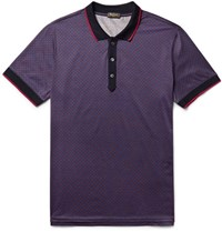 Berluti Contrast Tipped Printed Cotton Jersey Polo Shirt Storm Blue