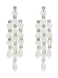 Simone Rocha Faux Pearl And Crystal Drop Earrings White