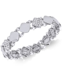 Nine West Polished Pave Stretch Bracelet Silver