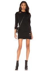 Monrow Distressed Sweatshirt Dress Black