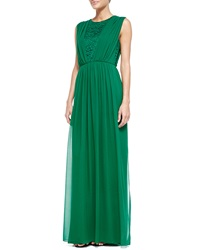 St. John Collection Silk Chiffon Gown With Rosette Lace Tourmaline